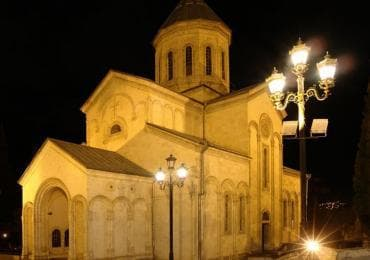 Kashveti church in tbilisi during night