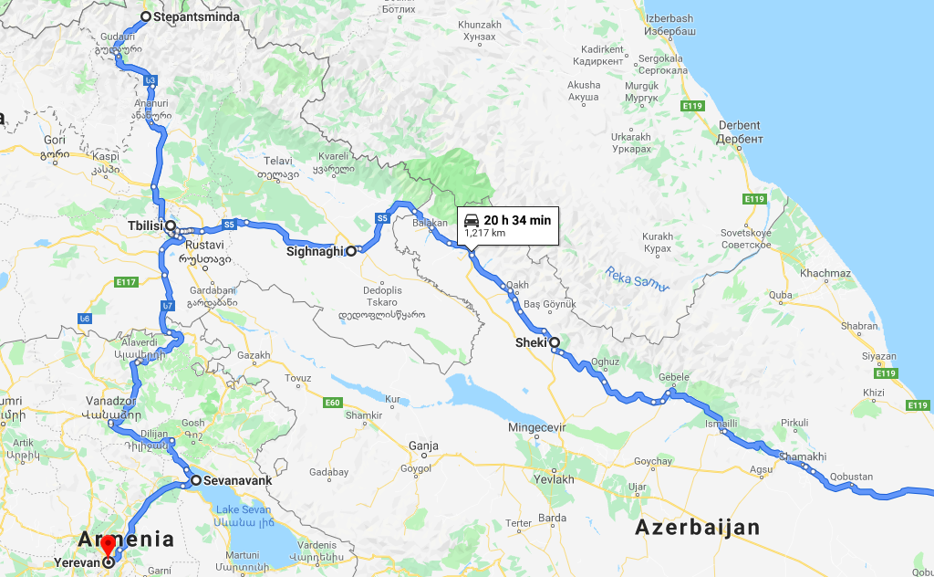 Map of Azerbaijan Georgia and Armenia group tour