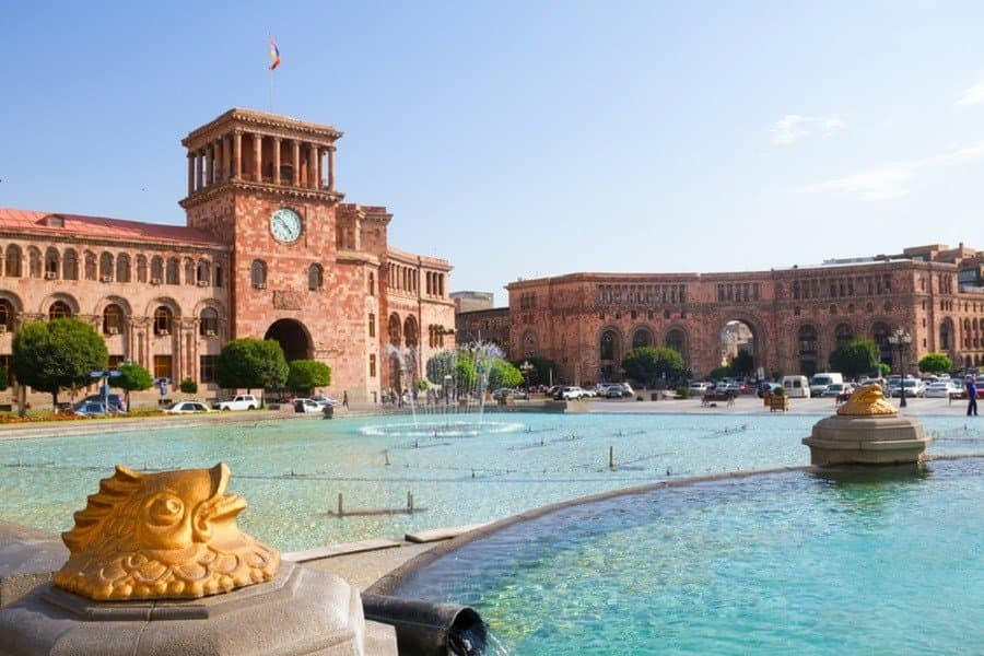 Central square in Yerevan Armenia with fountains
