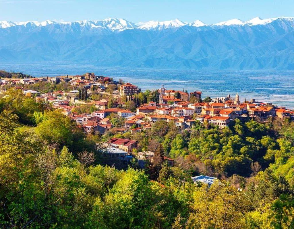Vista sulla valle di Sighnaghi e Alazani