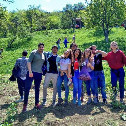 Tourists on farm tour in Georgia