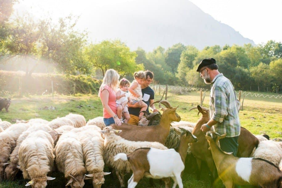 Tourists on a farm in Georgia Caucasus