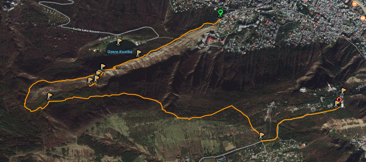 Map of the hiking route around Tbilisi