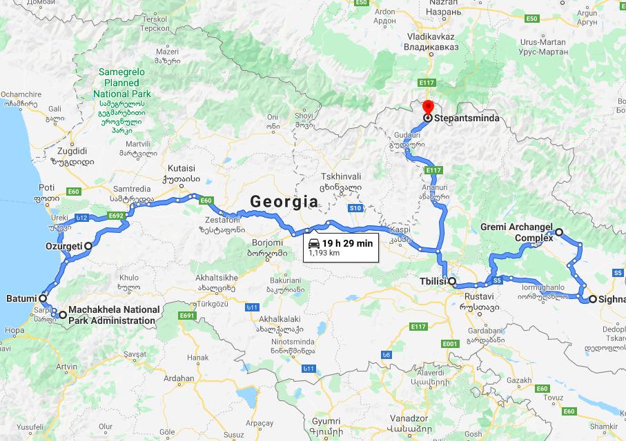 Georgia country group tour map